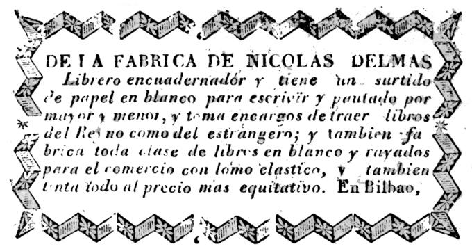 Nicolas Delmas. Librero Encuadernador. Bilbao.