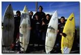 """Javier Trigo """"Neptuno"""" y otros surfistas de Los Locos."""