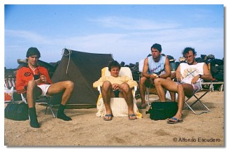 Javi Amezaga, Gonzalo Gandarias, Juanma Gandarias y Alfonso Escudero. La Santa, 1983