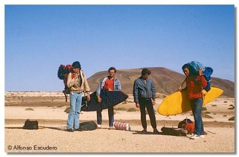 Javi Amézaga, Alfonso Escudero, Gonzalo Gandarias y Juanma Gandarias. La Graciosa, 1983