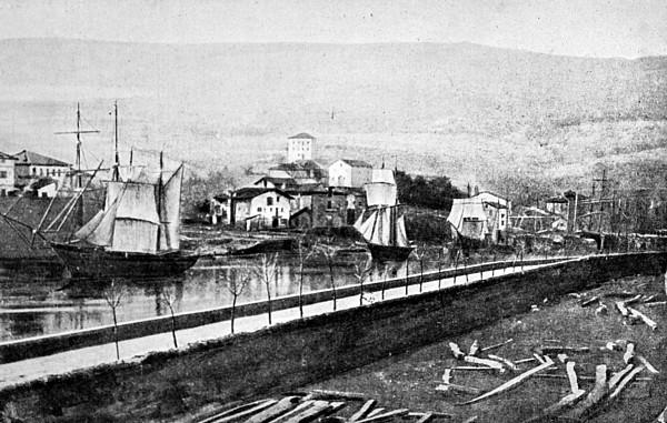 Astillero de Olabeaga. En primer término, suelo del astillero de Garli, Deusto.