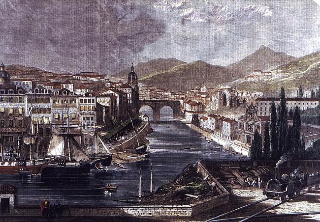 Grabado de Bilbao. 1862. S. Skelton