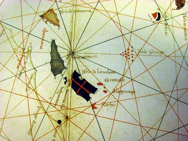 Atlas náutico (detalle islas Canarias). Gracioso Benincasa, 1467.