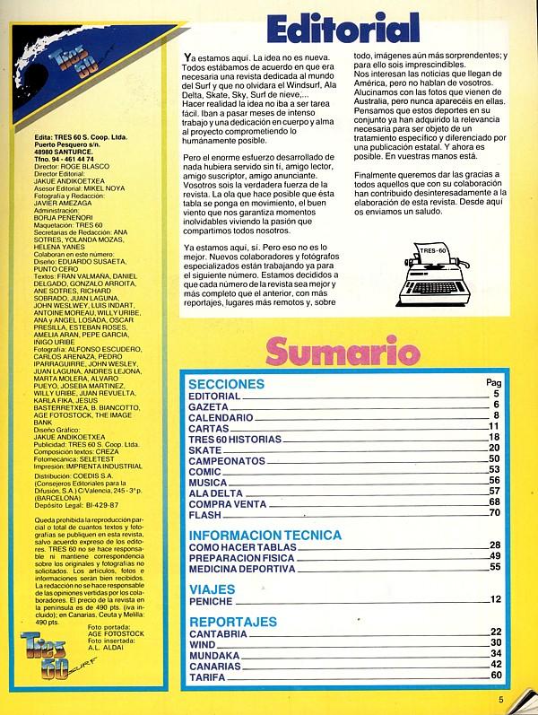 Página créditos y editorial primer número 3 sesenta. 1987.