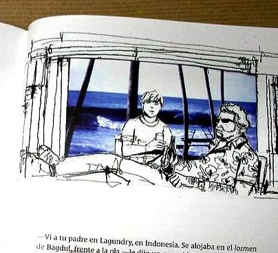 W. Somerser Maugham. Tengo Sitio Libre. Blog de Willy Uribe. Dibujo de Pablo Ugartetxea extraído del libro: Mar de fondo. Historias de surf. Federación Canaria de Surf, 2010