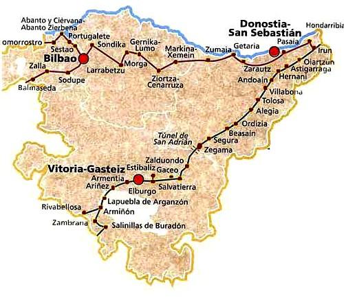 Camino de Santiago en Euskadi. Mapa de rutas.