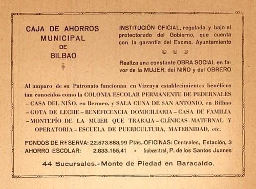 Anuario 1930 Federación Vasca de Alpinismo. Anuncios Comercio Bilbao. Blog de Willy Uribe