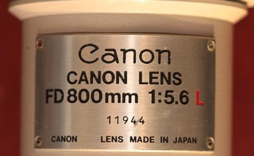 Teleobjetivo Canon FD 800mm 1:5.6 L