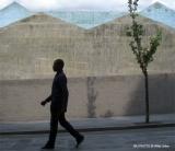 Hombre muro Bilbao gris azul arbol