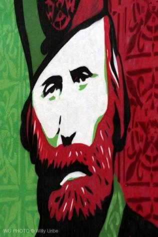 Garibaldi. Retrato mural en Barcelona. WU PHOTO © Willy Uribe