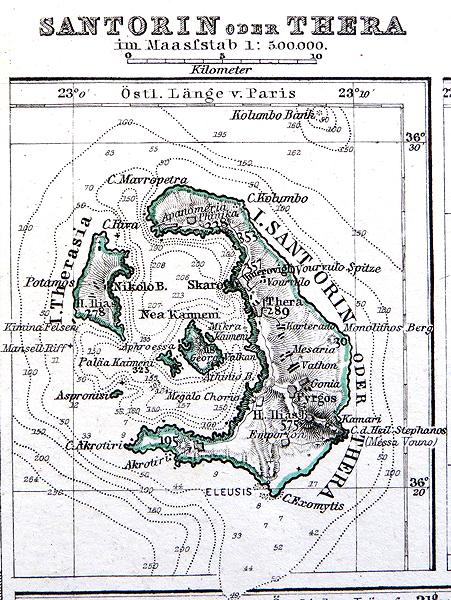 Santorini island Thera Old map Greece