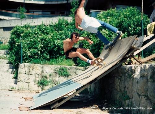 Skate. Rampa de madera Algorta – Getxo (Bizkaia) Comienzos de los 80's